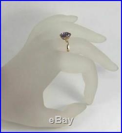 Rare Vintage Unique USSR Russian Soviet Gold Ring Alexandrite 583 14K Size 7