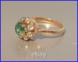 Ring Russian Star Vintage USSR Soviet Union Gold 14K 583 Green Stone Malinka