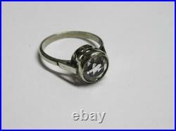 Royal Rare Vintage Soviet USSR Ring Sterling Silver 875 Rock Crystal Size 7
