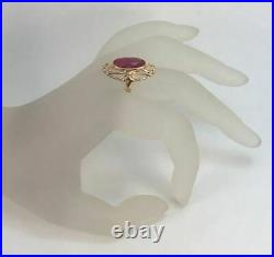 Royal Rare Vintage USSR Russian Soviet Solid Rose Gold Ring Ruby 583 14K Size 8