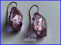 Royal Vintage Antique Soviet Russian Earrings Big Stone Sterling Silver 875 USSR
