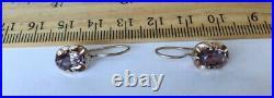 Royal Vintage USSR Soviet Russian Sterling Silver 875 Women Earrings Alexandrite