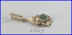 Royal Vintage USSR Soviet Solid Rose Gold Pendant Natural Jade Stone 583 14K