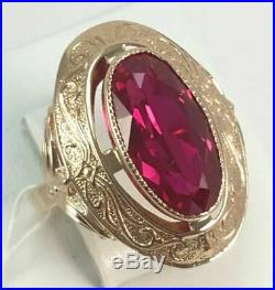 Royal Vintage Unique USSR Russian Soviet Rose Gold Ring Ruby 583 14K Size 6.5