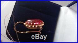 Russian Soviet USSR Ruby Corundum Earrings Solid Rose 14k 583/585 Gold 6.92 gr