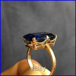Russian Soviet USSR Vintage Star 583 14K Gold Huge Topaz Ring