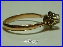 SOVIET UNION USSR 70s 14K YELLOW WHITE GOLD. 20CT DIAMOND SOLITAIRE RING BAND