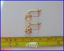 Solid Rose Gold Hook Earrings 14K 583 star Rock Crystal Russian USSR Vintage