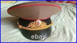 Soviet Russian General Marshal Visor Cap Hat USSR 58