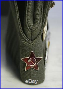 Soviet Union Russia Military Hat & Pins. USSR CCCP Badge Tank Patch Cap. RARE