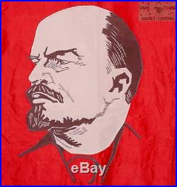 Soviet union original embroidered flag banner Lenin USSR Russian communist
