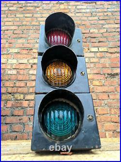 Traffic Signal Stop & Go Light Metal Case & Shades Glass Lenses / Vintage