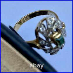 USSR Ring With Diamonds and Emerald Yellow Gold 750 Stamp Star 18K Soviet Russia