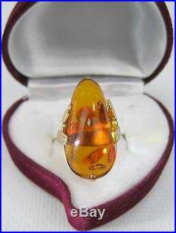 VINTAGE RING Gold 583 Baltic AMBER Size 8.25 Soviet Union USSR 7.27g