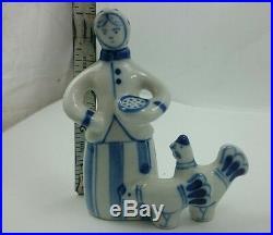VINTAGE USSR FIGURINES Russia Gzhel Porcelain Small Mini Soviet Union Culture