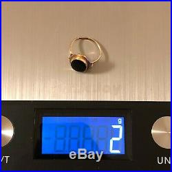 Vintage 585 Gold 14K Black Onyx Agate Women's Ring from Soviet Union USSR Russia