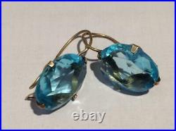 Vintage Antique Soviet USSR Earrings Sky Blue Stone Gilt Sterling Silver 875