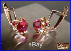 Vintage Earrings 583 GOLD 14K Soviet Union Russian USSR 4.63g
