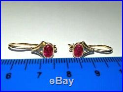 Vintage Earrings Pink Rose Gold 583 14K Star Stamp Soviet Union Russian USSR