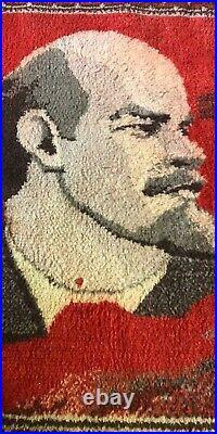 Vintage Lenin Portrait Carped Rug Very BIG 130x100cm Soviet Union 50-70s USSR