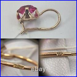 Vintage Original Soviet Earrings with Ruby made of Rose Gold 583 14K USSR
