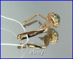 Vintage Original Soviet Natural Chrysoprase Rose Gold Earrings 583 14K USSR