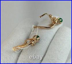Vintage Original Soviet Natural Chrysoprase Rose Gold Earrings 585 14K USSR