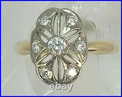 Vintage Original Soviet Natural Yakutia Diamond Yellow Gold Ring 750 18KT USSR