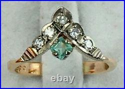 Vintage Original Soviet Rose Gold 583 14K USSR with Natural Emerald & Diamonds