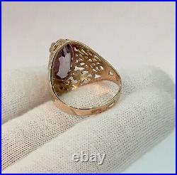 Vintage Original Soviet Rose Gold Alexandrite Ring 583 14K USSR, Solid Gold 14K