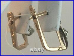 Vintage Original Soviet Rose Gold Earrings with Cubic Zirconia 585 14K USSR