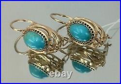 Vintage Original Soviet Rose Gold Natural Turquoise Earrings 583 14K, 14K GOLD