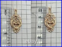 Vintage Original Soviet Rose Gold Pendant 585 14KT, Solid Gold Pendant 585 14KT