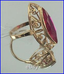 Vintage Original Soviet Rose Gold Ring Marquise with Ruby 583 14K USSR
