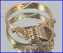 Vintage Original Soviet Rose Gold Ring UZELKI 583 14K USSR, Solid Gold 583 14K