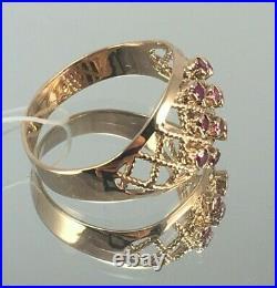 Vintage Original Soviet Rose Gold Ring with Ruby 583, 14K USSR, Gold Ruby Ring