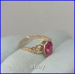 Vintage Original Soviet Rose Gold Ring with Ruby 583 14K USSR, Gold Ruby Ring