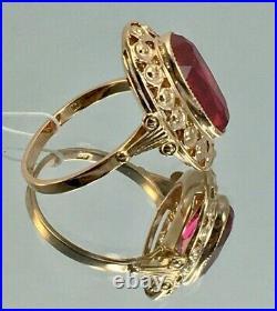 Vintage Original Soviet Rose Gold Ring with Ruby 583 14K USSR, Solid Gold Ring