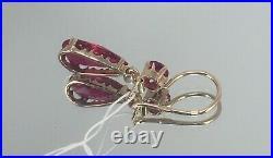 Vintage Original Soviet Rose Gold Ruby Earrings 583 14K USSR, Ruby Earrings 583