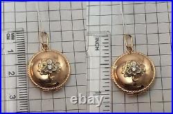 Vintage Original Soviet Rose Gold Yakutia Diamond Locket Photo 583 14K USSR