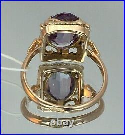 Vintage Original Soviet Russian Alexandrite Rose Gold Ring 583 14K USSR