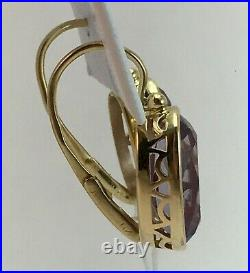 Vintage Original Soviet Russian Alexandrite Yellow Gold Earrings 750 18KT USSR