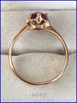 Vintage Original Soviet Russian Pink Sapphire Rose Gold Ring 583 14K USSR
