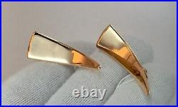 Vintage Original Soviet Russian Rose Gold Earrings 583 14K USSR, Russian Gold