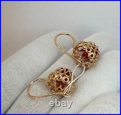 Vintage Original Soviet Russian Rose Gold Earrings 583 14K USSR, Solid Gold 583