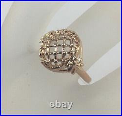 Vintage Original Soviet Russian Rose Gold Ring 583 14K USSR, Solid Gold Ring 583