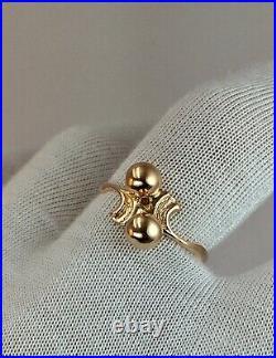 Vintage Original Soviet Russian Rose Gold Ring 583 14K USSR, Solid Rose Gold 14K