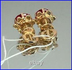 Vintage Original Soviet Russian Rose Gold Ruby Earrings 583 14K USSR