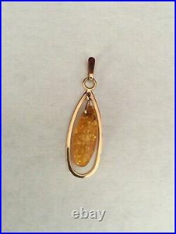 Vintage Pendant Genuine Cognac Amber Solid Rose Gold 583 14k USSR Russian