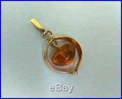 Vintage Pendant Gold 583 14K Natural Amber Star Stamp Soviet Union Russian USSR